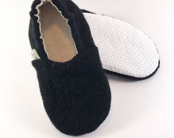 Hipster Toddler Clothes- Black Baby Shoes- Gender Neutral Baby Outfit- Toddler Slippers