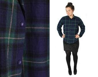 Vintage Flannel, Plaid shirt, Checkered flannel shirt, Long sleeve flannel, Blue plaid shirt, Green plaid shirt, 90s grunge shirt / Medium