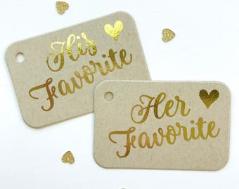 His Her Our Favorite Foiled Kraft Wedding Tags, Wedding Favor Tags, Favor Tags, (RR-419-FKR)