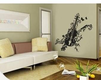 20% OFF Summer Sale Blossom Violin wall decal, sticker, mural, vinyl wall art