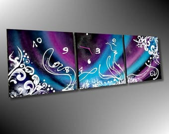 Abstract painting clock modern street art