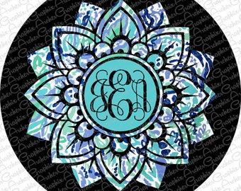 Spare Tire Cover Lilly Pulitzer Inspired Monogram Pick your pattern!