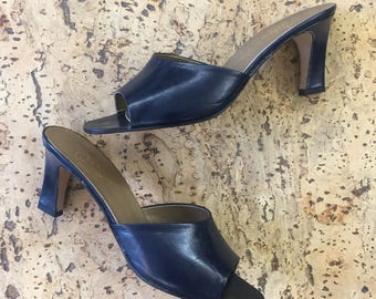 Mules slippers navy leather high heels vintage dead stock Silvy 1980 / 39 1/2 EU