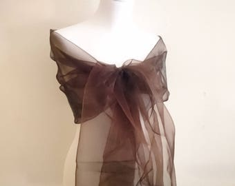chocolate brown organza wedding evening stole ceremony 75 / 200cm