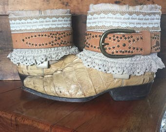 Upcycled Hornback crocodile western cowboy boots women's size 9