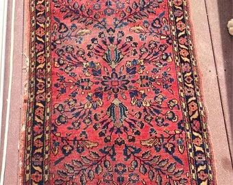 ON SALE Antique Persian Hand Knotted Iranian Sarouk Rug Mat 25-1/2 by 48""