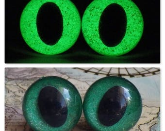 13.5mm Glow In The Dark Cat Eyes, Green Glitter Safety Eyes With Green Glow, 1 Pair Of Glow In The Dark Safety Eyes