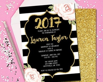 SUNDAY ONLY SALE Graduation, Graduation Invitation, Graduation Announcement, Black and Gold, Floral, Gold, Blush, Pink, College, High School