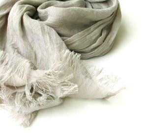 light gray linen scarf, extra long ligtweight gauze summer wrap