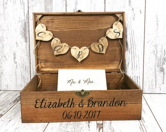 Personalized Wedding Card Box, Wooden Wedding Card Box, Rustic Card Box, Stained Keepsake Box, Card Box, Wedding Gift, Wedding Cards Box