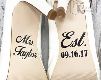 Personalized Wedding Shoe Decals, High Heel Decals, Shoe Decals for Wedding, Wedding Shoe Decals, Custom Shoe Decals, Vinyl Shoe Decal