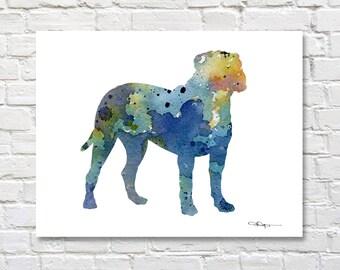 Bullmastiff Art Print - Abstract Watercolor Painting - Wall Decor
