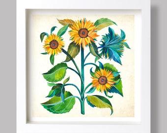 Sunflower Painting, Sunflower Watercolor, Sunflower Illustration, Botanical Poster, Sunflower Art Print, Sunflower Wall Art, Kitchen Decor