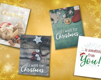 funny christmas card, Xmas card, all i want for Christmas, greeting card, personalized card, santa christmas card, cool Xmas card