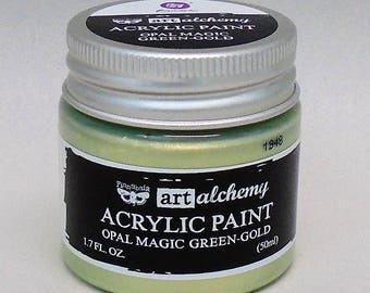 Art Alchemy, Acrylic Paint, Opal Magic Green Gold, Two-Tone Iridescent Effect  1.7oz (50ml)