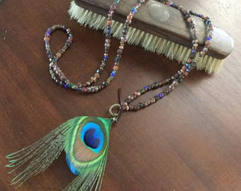 Feather Necklace Artisan Necklace Long Necklace Bohemian jewelry Women's Necklace Layering Necklace Boho Necklace