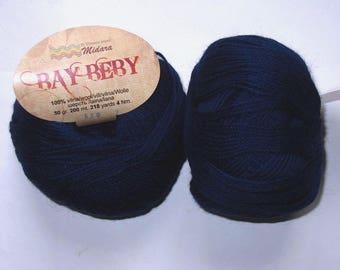 5 balls Pure Virgin wool Bay Beby Navy 630 Midara
