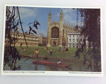Postcard Punting on the Cam King's College Cambridge Social History