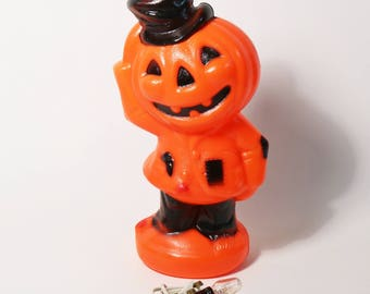 Vintage 1969 Halloween Pumpkin Empire Blow Mold Jack-o-Lantern Scarecrow