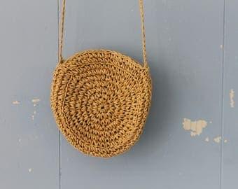 Vintage Straw Purse/Cross Body/Pouch/Round Straw Bag/Mini Straw Bag/Mini Straw Purse/Boho/