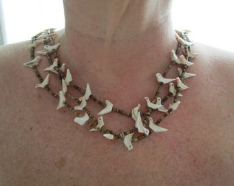 """Native American  handcarved  Shell   Fetish Birds  heshie necklace 26"""", Double Strand Vintage jewelry, Ethnic Jewelry Gift for her"""