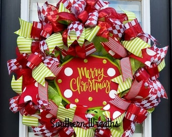 Merry Christmas Wreath, Red and Green Christmas Wreath,Polka Dot Wreath, Christmas Decor, Front Door Wreaths,Holiday Wreath, Merry Christmas