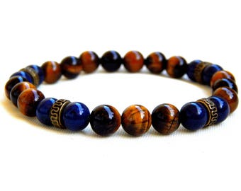 Bracelet tiger eye and fine natural lapis lazuli beads ethnic style