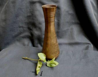 Gold Bud Vase, Small Solid Brass Vase, Vintage Floral Etched Brass Vase