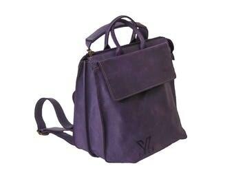 Purple Violet Medium Messenger, Leather Tote ,Black Leather Bag, Shoulder Bag, Crossbody Bag , Laptop Bag Women, Work Bag, Office Bag