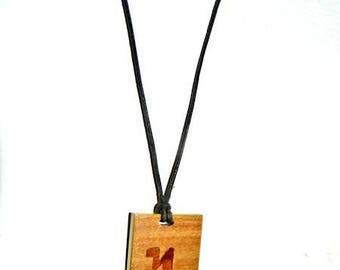 Wooden letter A theban alphabet necklace