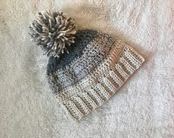 Adult Crochet Neutral Gray Pom Pom Winter Hat