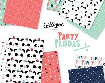 Party Pandas - Digital Paper - Instant Download