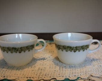 Set of 2 Vintage Pyrex coffee mugs in the Crazy Daisy or Spring Blossom Pattern