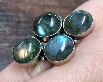 Blue Fire Labradorite + Sterling Silver 925 Statement Ring Size 5 & 6.5