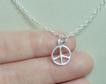 Sterling Silver Peace Sign Charm Necklace