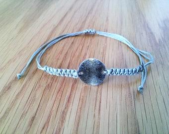 Round Bracelet, Friendship Bracelet, Macrame Bracelet, Circle Pendant bracelet,Bracelet, Charm Bracelet, Silver, Macrame Jewelry