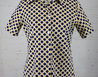 Vintage 60s Yellow & Blue Check Print Blouse Casual Short Sleeve M L