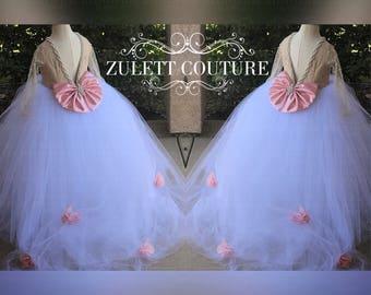 Birthday Dress - Baptism Dress - Sequin Girl Dress - Lace Dress - Baptism Dress - handmade Flowers - Sainella Dress by Zulett Couture