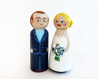 Custom Figurines - peg doll - Cake wooden toppers - Wedding Cake toppers - Wooden Figurines - To customize
