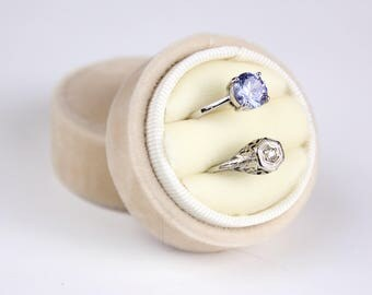 Velvet Ring Box in Champagne Velvet and Grosgrain For Weddings, Heirloom Jewelry, Gifts for the Bride to Be