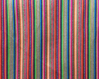 1 meter Striped Silver Fabric, peruvian Blanket, jacquard fabric, geometric pattern, home textile, FABRIC by yard
