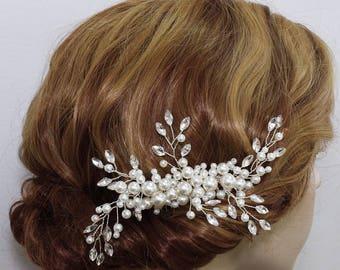Wedding hair piece Bridal comb Weding Hair Accessories Bridal hair piece Wedding hair piece Veil attachment Bridesmaids comb Swarovski Pearl