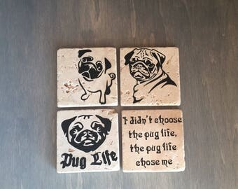 Pug Coasters, Black Pug Custom Coasters, Dog Decor, Housewarming Gift, Home Decor, Pug Decor, Kitchen Decor, Home Decor for Dog Lovers