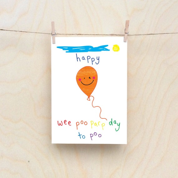 Rude kids cards, Silly Children's cards, Toddler rude words card. kids birthday card, funny kids card. funny birthday card.