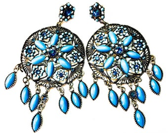 Women Handmade Floral metal brass dangle  boho ethnic chunky vintage chandelier statement earrings turquoise blue.