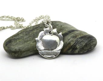 washington necklace,  american necklace, apple necklace, washington state necklace, handmade necklace, vintage necklace
