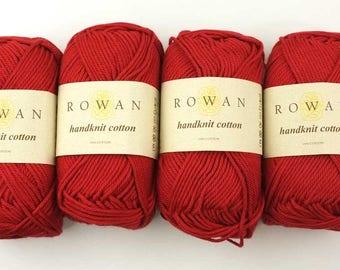 Rowan Handknit Cotton color Rosso 215 deep red, cotton yarn