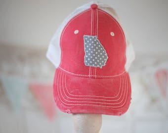 Coral Hat with State of Georgia in Grey for Summer or Christmas Gift