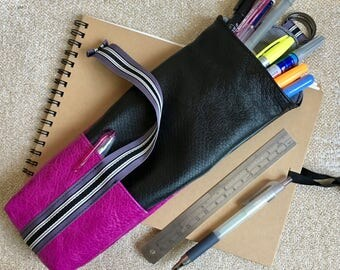 Leather Pencil Case | Black and Fuchsia Leather Pen Case | Makeup Brush Holder |Gift for Artists Tools Brushes Holder|3rd Year Anniversary