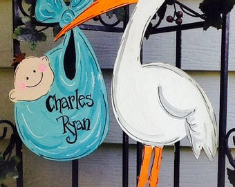 Baby announcement sign, stork sign, stork announcement sign, newborn announcement sign, newborn door sign, baby door sign, stork door sign